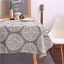 غطاء طاولة من ColorBird رمادي بتصميم الميداليات من القطن والكتان مقاوم للغبار للمطبخ وغرفة الطعام والكتان (مستطيل/أوبلونج،...