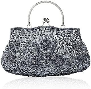 EROUGE Beaded Sequin Design Flower Evening Purse Large Clutch Bag