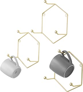 MyGift Modern Brass Metal Geometric Hexagon Hook Rack, Set of 3