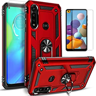 STARSHOP - Motorola Moto G8 Plus Case, G8 Play Case, with [Tempered Glass Protector Included] Metal Ring Stand Shockproof ...