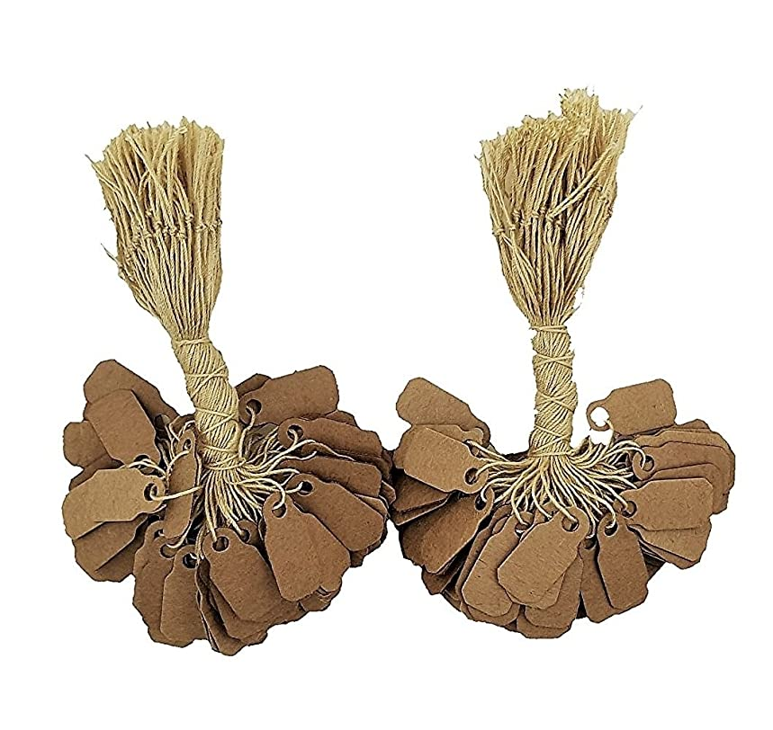200 Pcs of Kraft Paper String Tags, Price Tags, Elegant Jewelry String Tags perfect for Gifts or Business (7/8