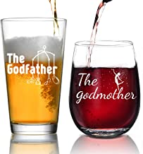 Godparent Gifts - Personalized Godparent Gift,Godmother Wine Glass, Baptism Gift for Godparent, Christening