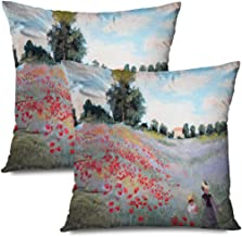 Ahawoso Set of 2 Throw Pillow Covers Square 20x20 Design Yellow Summer Shadows Child Original Landscape Woman Oil Painting Fall Drawn Nature Objects Zippered Pillowcases Home Decor Cushion Cases