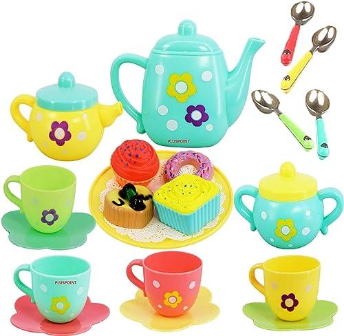 PLUSPOINT Tea Set Tea Party Pretend Playset for Kids, Teapot Play Set Pretend Play Set Girls Kitchen Toy Teapot Gift ...