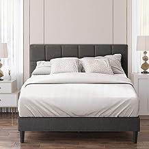 Zinus Lottie Queen Bed Frame Platform | Classic Square Stitched Fabric Headboard | Solid Wood Slats - Dark Grey