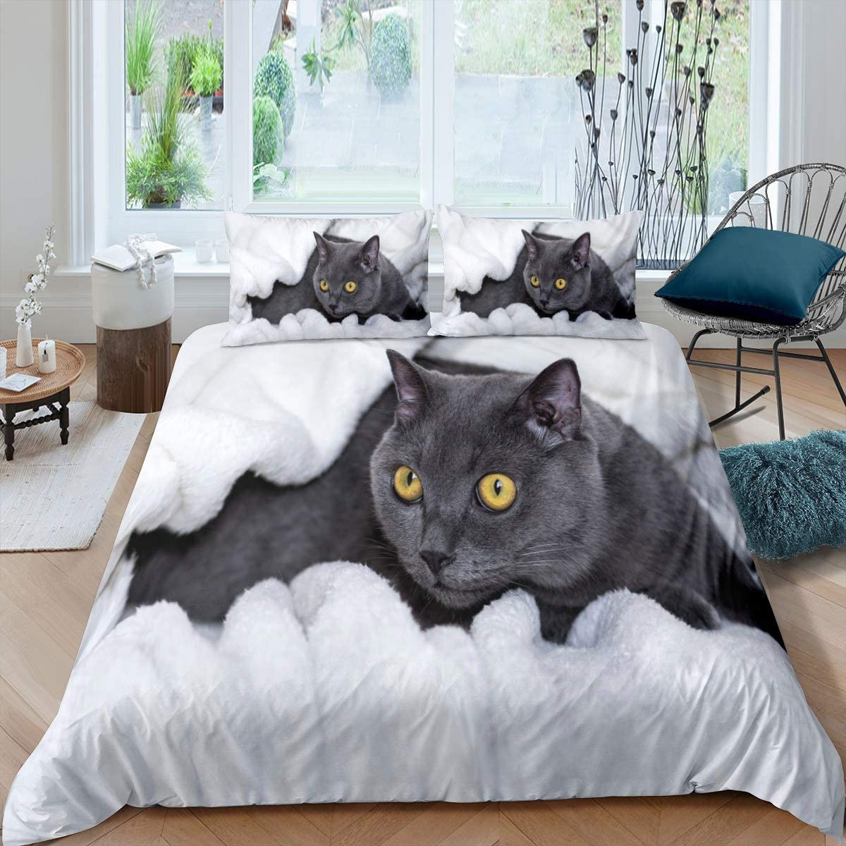 Cat Ranking integrated 1st place Bedding Set Cute Detroit Mall Kitten Print for Cover Adult Kids Comforter