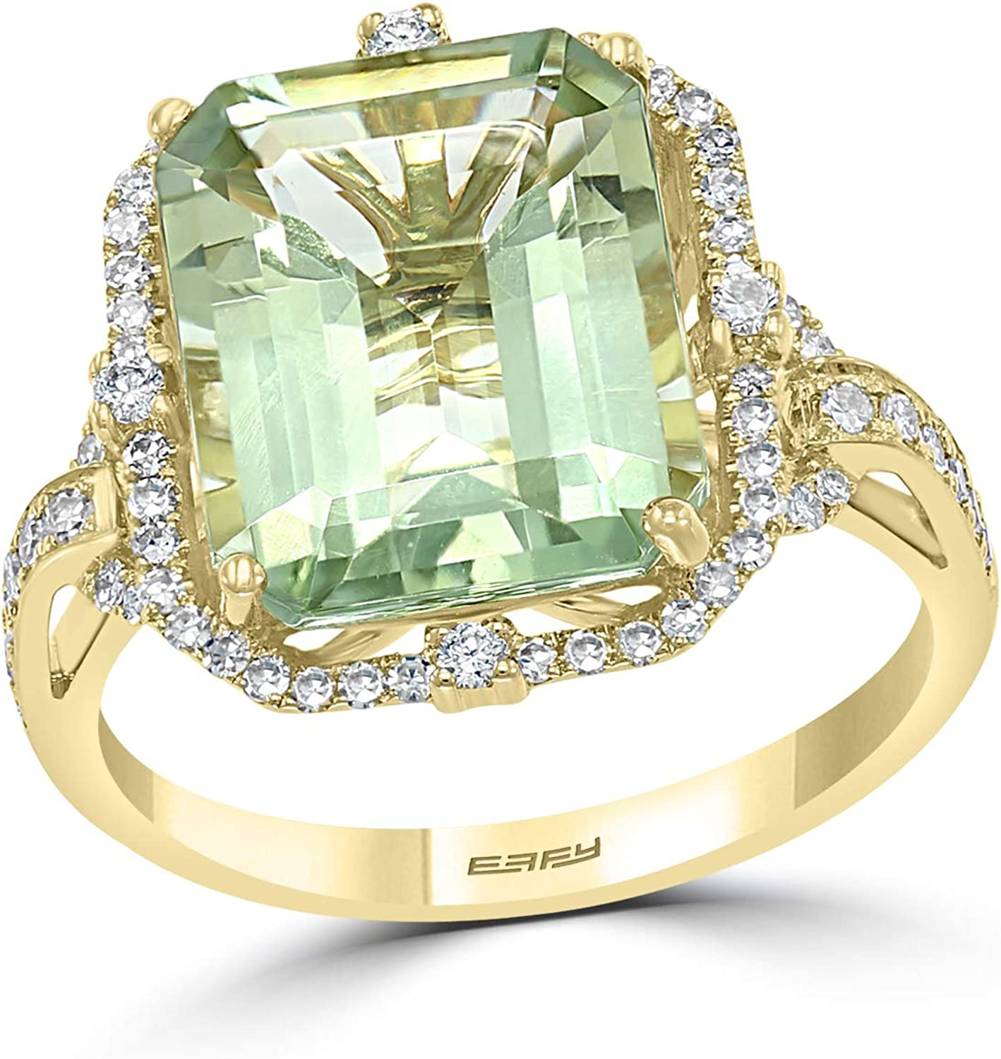 Effy Jewelry Green Amethyst & Diamond Cocktail Ring in 14K Yellow Gold, 5.5 TCW HRY0Q364IL