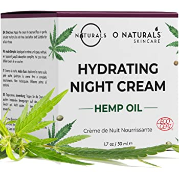 O Naturals Repairing Organic Hemp Oil Face Moisturizer Hydrating Night Cream. Hyaluronic Acid Anti Aging Face & Neck Cream. Moisturizes Dry Skin Anti Wrinkles Boost Collagen Women & Men Skincare 1.7oz