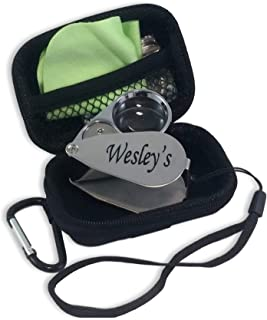 Wesley's 40X Jewelers Loupe Magnifier LED/UV Illuminated, Includes a Sturdy EVA Travel Carrying Case, Jewelers Magnifying Glass for Gardening, Kids,Coin, Stamp and Rock Collecting