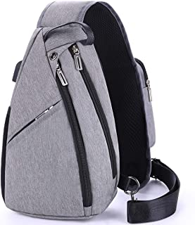 Veballensty Sling Bag, Sling Backpack for Man with USB Port, Crossbody Backpack for Travel Hiking Cycling Camping