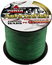 Ashconfish Braided Fishing Line-4 Strands Super Strong PE Fishing Wire Multifilament Fishing String Ultra Power 6LB-100LB ...