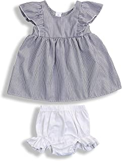 YOUNGER TREE Toddler Baby Girls Shorts Set Ruffle Flying Sleeve T-Shirt Button Top +Bloomer Shorts Summer Clothes Outfits