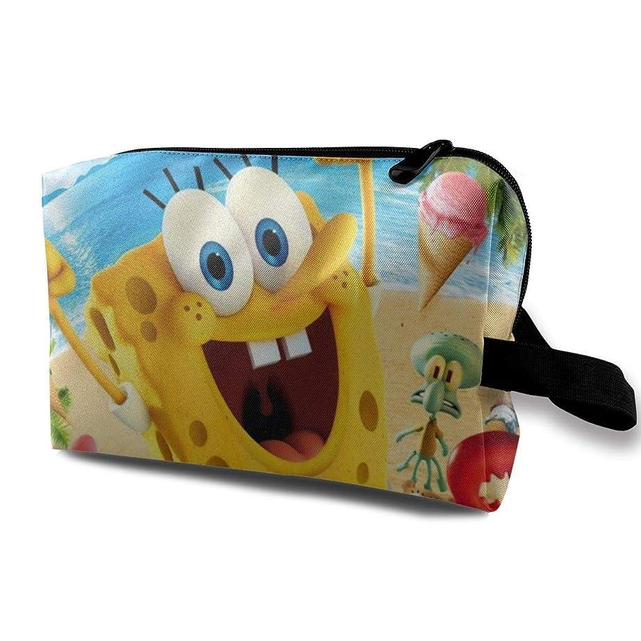 こっそり典型的なインテリアQrwlkj スポンジボブ Spongebob SPONGE BOB 化粧ポーチ トイレタリーバッグ 化粧品バッグ トラベル 化粧品バッグ 大容量 収納バッグ ウォッシュバッグ 文房具 バッグ 小物収納 ビジネス トラベル