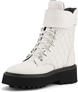 Westconnex Women Round Toe Ankle Lace Up Waterproof Boots (Cream, 36)