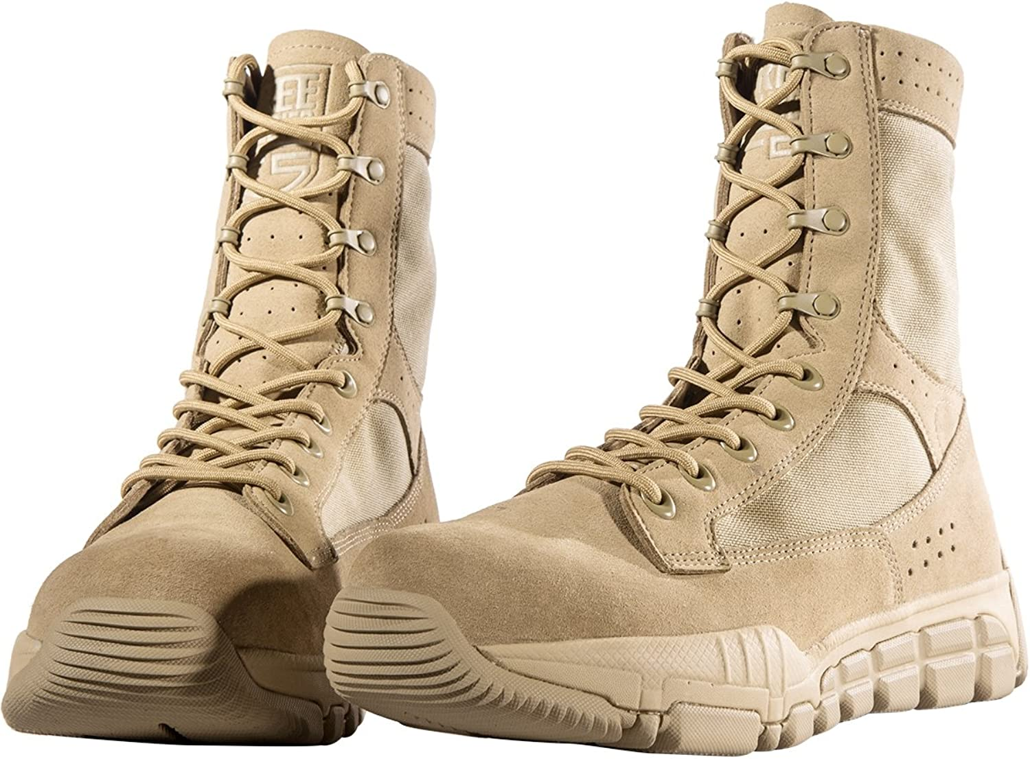 FREE SOLDIER Mens Military Boots 8 Inch Deeply Serrated Toe and Heel Bumper Desert Tan Tactical Boots