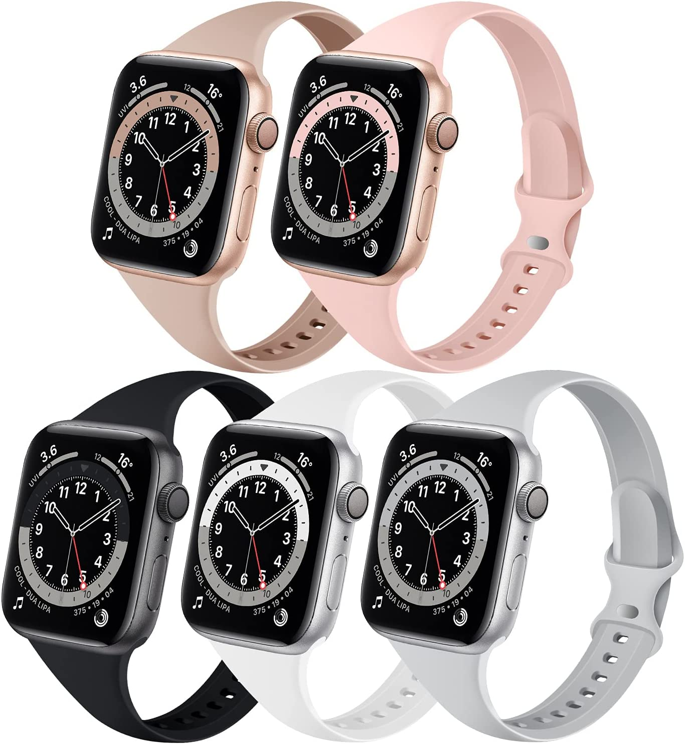 Bands Compatible with Apple Watch 38mm 40mm, 5 Pack Slim Thin Narrow Replacement Silicone Sport Strap for iWatch Series SE 1/2/3/4/5/6, Milk Tea/Pink Sand/Black/White/Gray 38mm/40mm