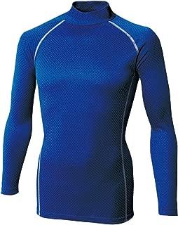 おたふく手袋 ボディータフネス 保温・消臭 長袖 ハイネックシャツ 織柄チェック ストレッチ ブルー L JW-172
