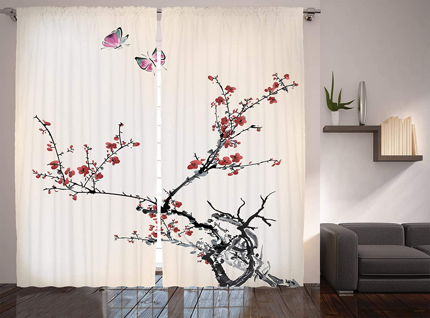 Ambesonne Watercolor Flower Curtains Finally resale start Flo Finally resale start Branches Tree Japanese