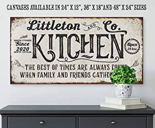 Personalized - Kitchen Best of Times - Large Canvas Wall Art (Not Printed on Metal) - Stretched on a Wood Frame - Perfect Dining Room or Kitchen Decor - Makes a Great Housewarming or Wedding Gift