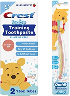 Crest & Oral-B Baby Toothbrush and Toothpaste Training Kit for Infant and Toddler Age 0-3, Fluoride-Free, (2) Gel Toothpas...