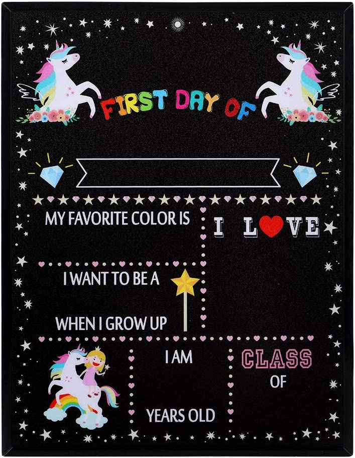 WaaHome Unicorn Theme First Day School of Chalkboard Topics on TV 9