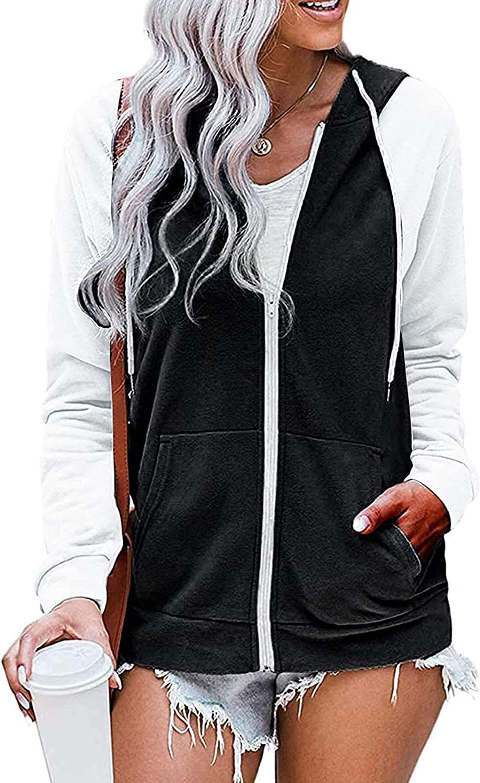 Zip Up Hoodies For Women Solid Long Sleeve Fall Teen Girls Oversized Loose Outdoor Sports Hooded Sweatshirt Jacket Coat Tops