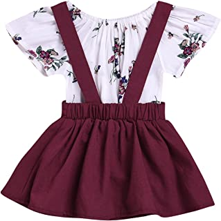 Infant Baby Girls Floral Romper Suspender Skirt Overall Dress Jumpsuit Outfit 2PCS