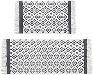 HEBE Cotton Area Rug Set 2 Packs 2'x3'+2'x4.2' Machine Washable Printed Cotton Rugs with Tassel Hand Woven Cotton Rug Runner for Kitchen Floor, Living Room, Bedroom