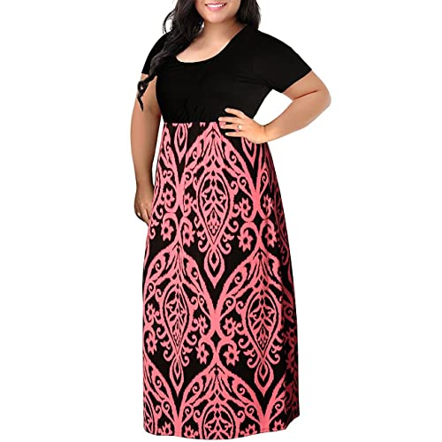 beaecc68b27 Kancystore Women Plus Size Maxi Dresses Chevron Print Summer Short Sleeve  Casual Long Dress