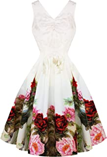 03710cde8d17 Hearts & Roses London English Rose White Floral Vintage Retro 1950s Flared  Wedding Dress
