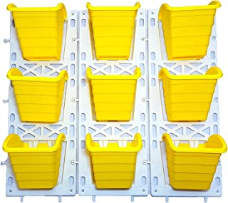 Unique Plastic Vertical Wall Planter (3x3, Yellow, Pack of 3)