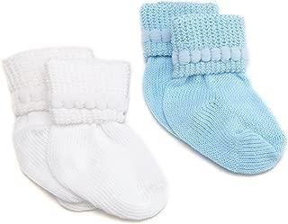 Jefferies Socks Rock-A-Bye Bootie, 6 Pack, White/Blue