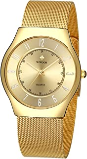 Wwoor Men's Ultra thin Analog Quartz Dress Watches Gold