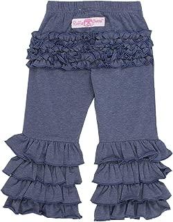 RuffleButts Baby/Toddler Girls Faux Denim Stretchy Flare Pants w/Ruffles