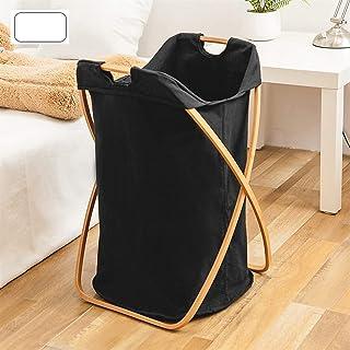 LYQQQQ Panier de Rangement Pliable de Panier de Bambou, matériel de Tissu, Rangement Pratique, 42x38x63cm (Color : Black)
