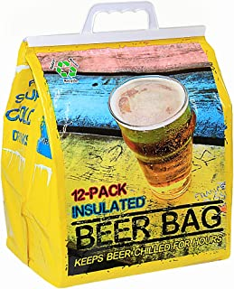Jay Bags BR-29 Beer 12 Pack Reusable Insulated Drink Bag, Yellow