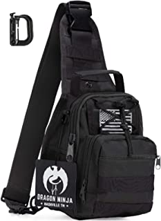 Dragon Ninja Tactical Sling Bag with D Ring Clip Flag Patch and Ninja Patch