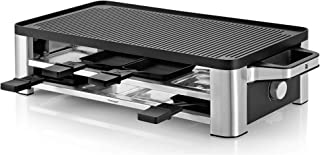 WMF Lono Parrilla Raclette y grill, 1500 W, Parrillas Antiadherentes, 8 Espatulas y 8 Sartencitas, Apta para Crepes, Acero Cromargan
