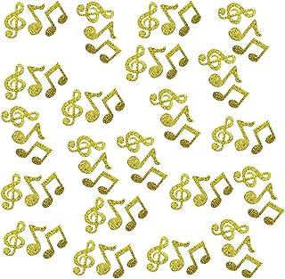 Table Confetti Double -Side Glitter Gold Music Note Paper Confetti, 100pcs