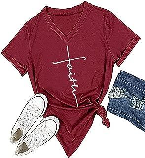 Enmeng Womens Causal Faith Printed T-Shirt Christian Graphic Tees