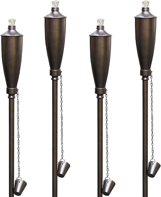 Dusq | Set of 4 Bronze Genie Outdoor Garden Torches/Tiki Torch, Use with Regular or Citronella Torch Fuel