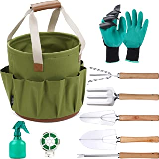 9 Piece Garden Tote and Tools Set, Garden Bucket Tool Kit Organizer with 18 Deep Pockets, Gardening Hand Tools and Supply ...