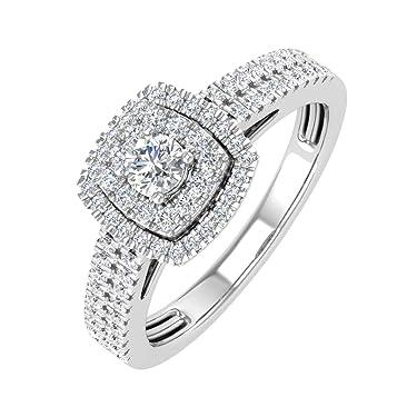 1/2 Carat Double Halo Diamond Ring in 10K Gold