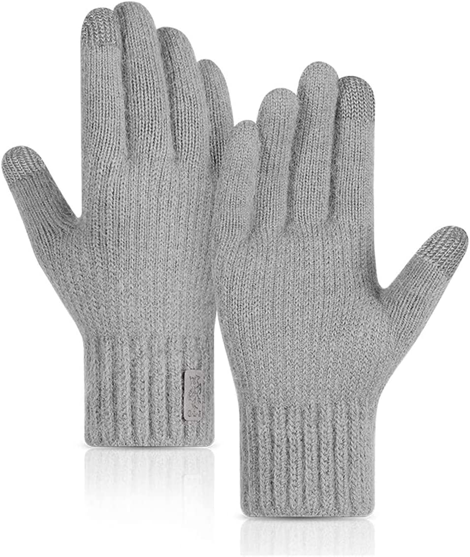 RSQJ Knitted Touch Screen Gloves for Men and Women Outdoor Gloves for Autumn and Winter Riding Plus Velvet Thick Windproof and Warm Alpaca Gloves (Color : Light Gray, Size : X-Large)