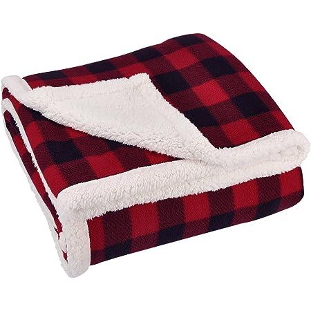 Red Buffalo plaid reversible blanket Cotton Wool Sherpa fleece Throw 50 x 60