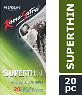 KamaSutra Pleasure Series Condoms for Men , SuperThin Condoms , Extra Thin for Natural Sensations, 20 Premium Condoms