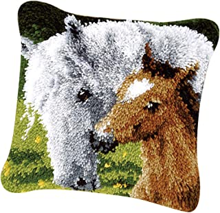 kesoto Animals Horses Latch Hook Rug Kit for Kids Children DIY Needlework Yarn Cushion Cover Embroidery Crafts