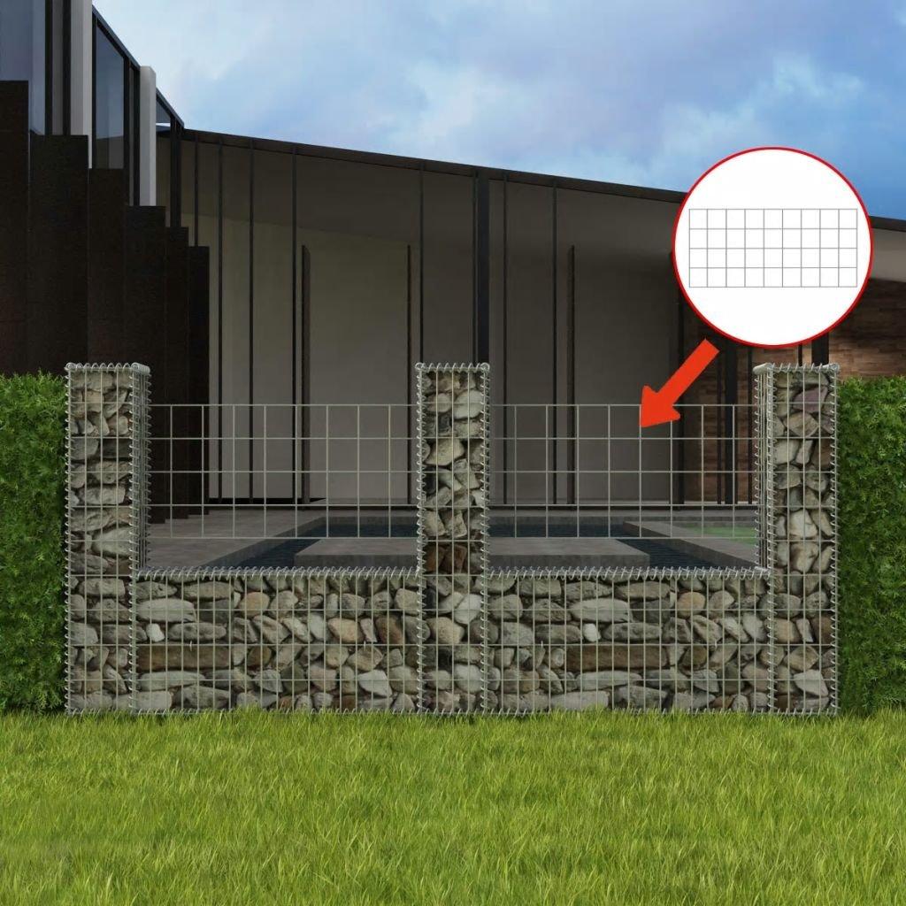 Luckyfu Diseno Moderno Bricolaje Vallas de Jardin Paneles de Vallas Cesta en Forma de U para Muro de gaviones 240x20x100 cm Acero: Amazon.es: Jardín