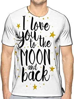 3D Printed T-Shirts I Love You to The Moon Back Love Font Eleme Short Sleeve Top