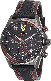 ساعة كوارتز بنظام عرض انالوج وسوار جلدي للرجال - 0830717، من سكودريا فيراري